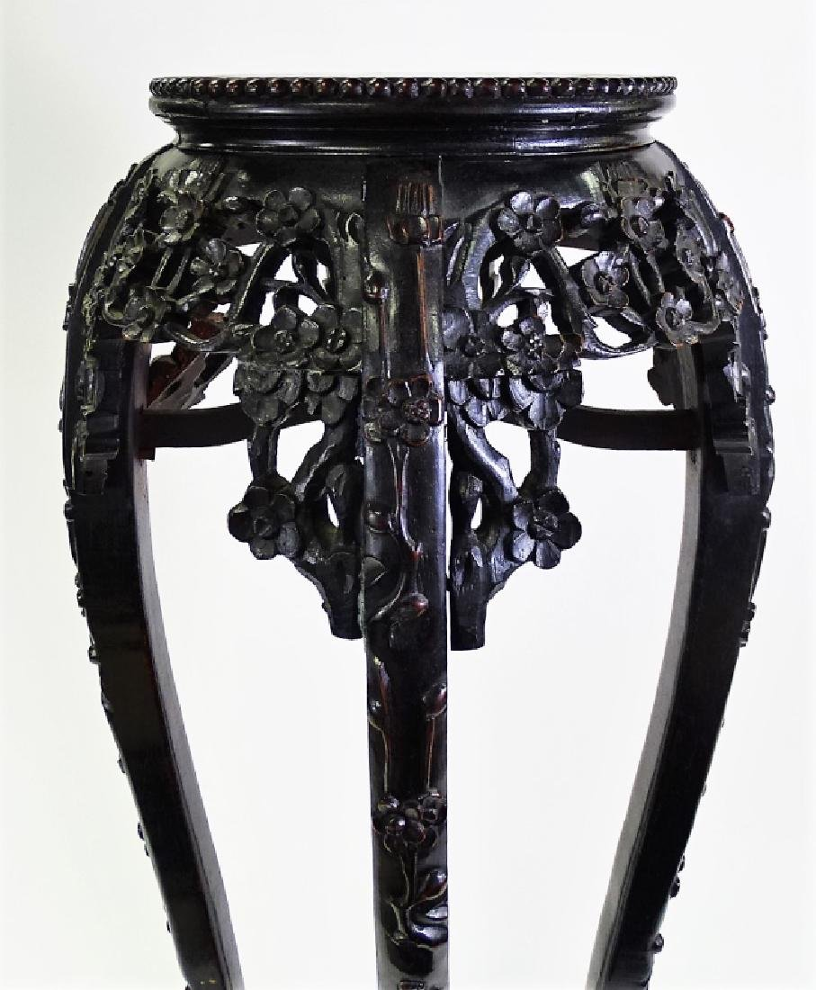 ANTIQUE CHINESE CARVED ROSEWOOD MARBLE TOP STAND - 2