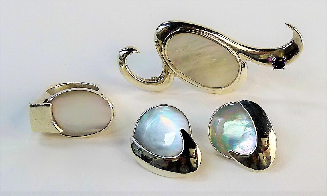 4PC STERLING & MOTHER OF PEARL JEWELRY SUITE