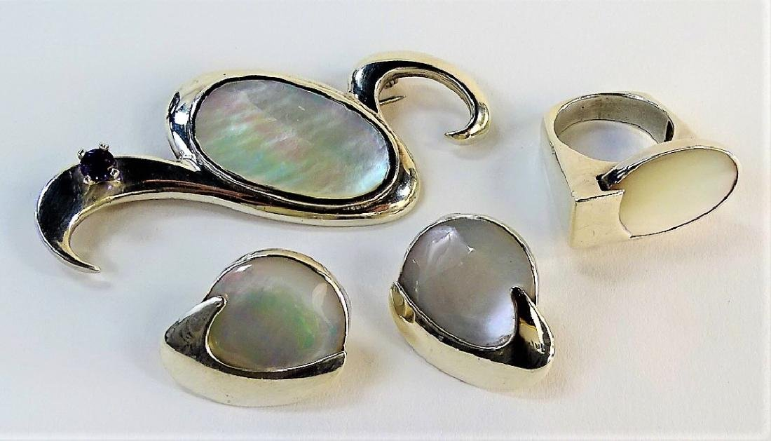 4PC STERLING & MOTHER OF PEARL JEWELRY SUITE - 2