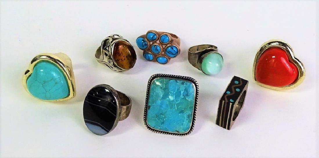 LOT OF 8 STERLING SILVER RINGS - 2