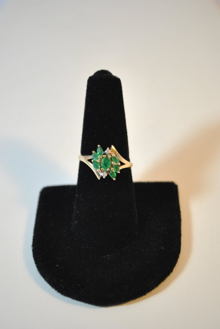 VINTAGE  LADIES 10KT YG  DIAMOND  AND COCTAIL RING