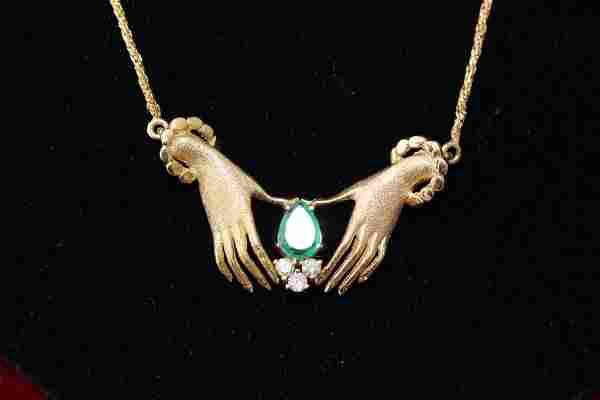 LADIES 14KT YELLOW GOLD EMERALD & DIAMOND NECKLACE