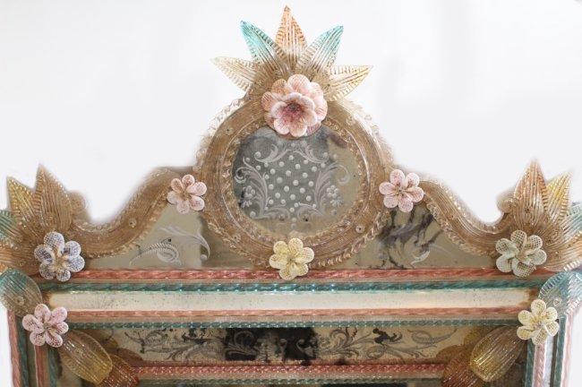 ANTIQUE VENETIAN HALL MIRROR WITH MURANO FLOWERS - 2