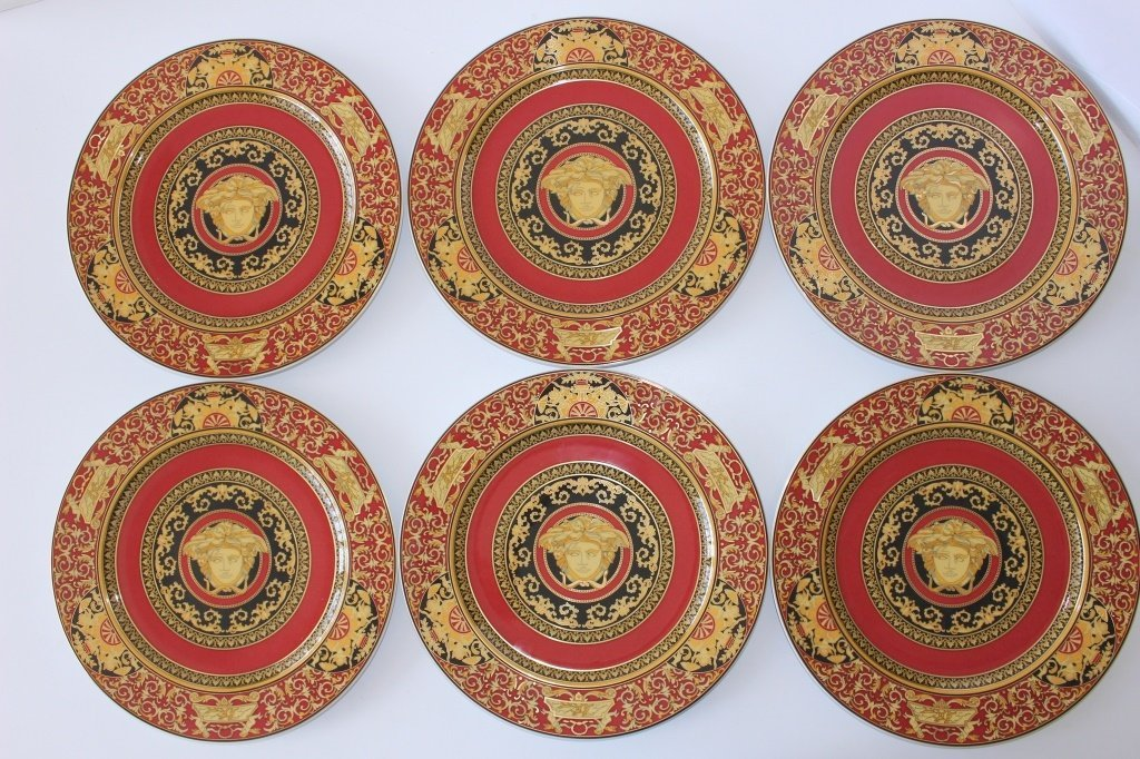 SIX VERSACE ROSENTHAL MEDUSA CHINA CHARGERS