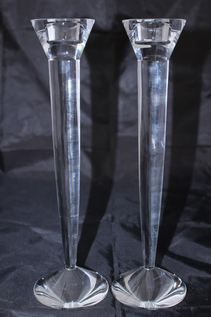 LARGE PAIR SCULPTED BACARRAT CRYSTAL CANDLE STICKS