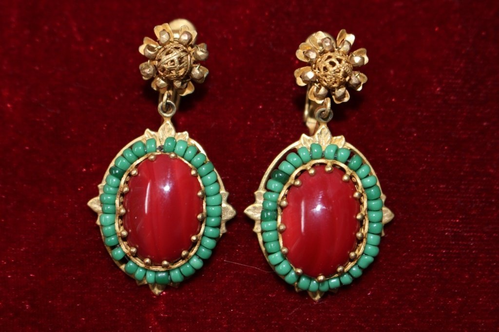 SIGNED VINTAGE MIRIAM HASKELL EARRINGS
