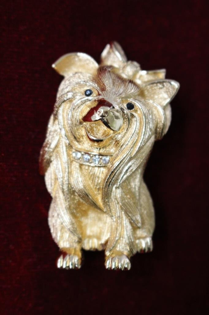SIGNED CHRISTIAN DIOR GOLD TONE DOG BROOCH