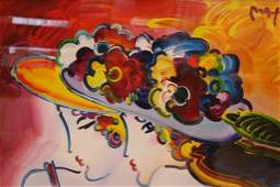 PETER MAX LITHOGRAPH ON PAPER HAND EMBELLISHED