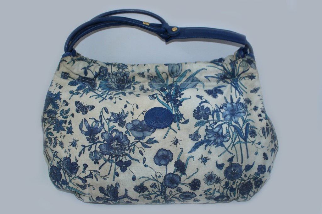 GUCCI VINTAGE BLUE FLORAL CANVAS TOTE BAG