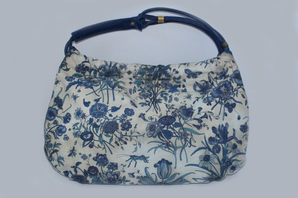 GUCCI VINTAGE BLUE FLORAL CANVAS TOTE BAG - 2