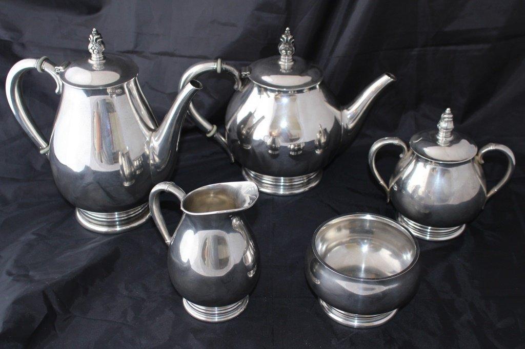 ROYAL DANISH 5 PIECE LARGE STERLING TEA SERVICE