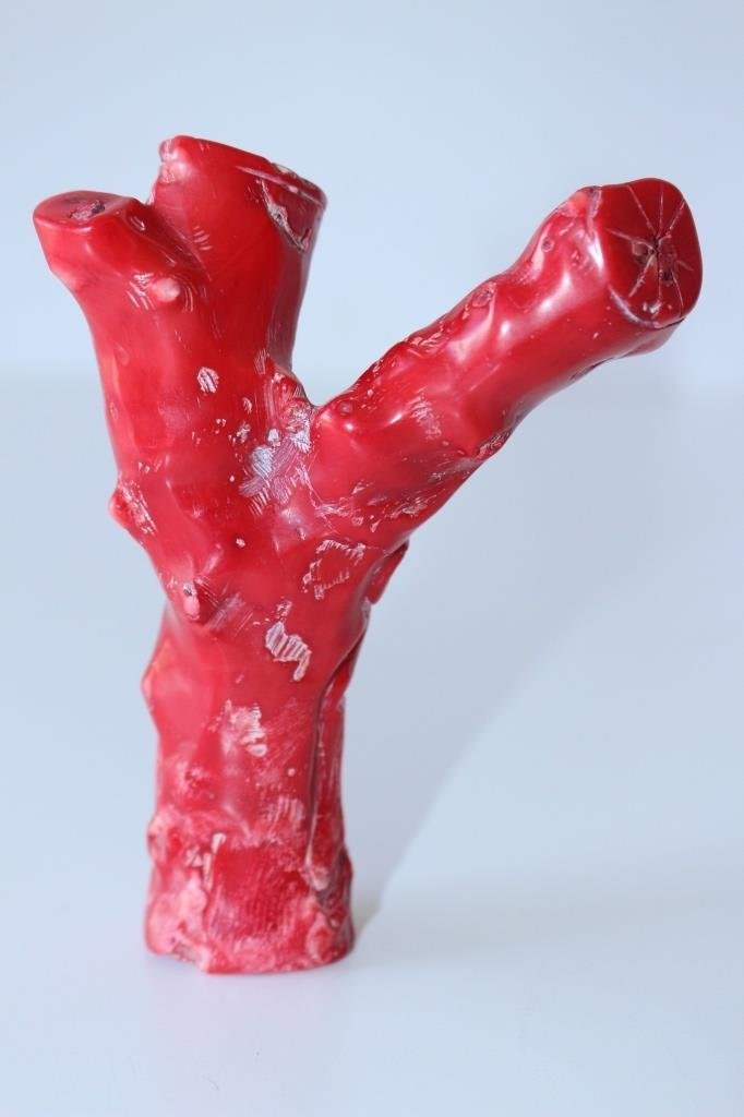 CHINESE CARVED RED CORAL BUDDAH - 3