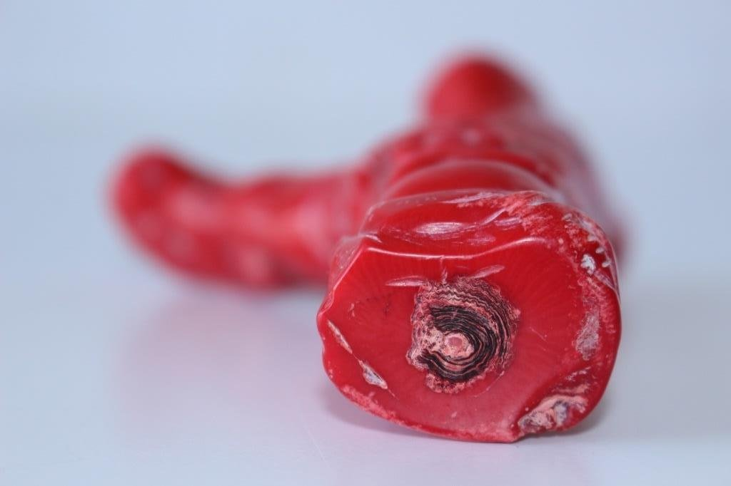 CHINESE CARVED RED CORAL BUDDAH - 5
