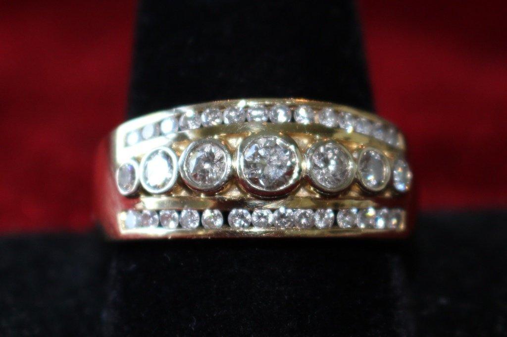 ESTATE 18KT YG MENS 2CT DIAMOND RING - 2