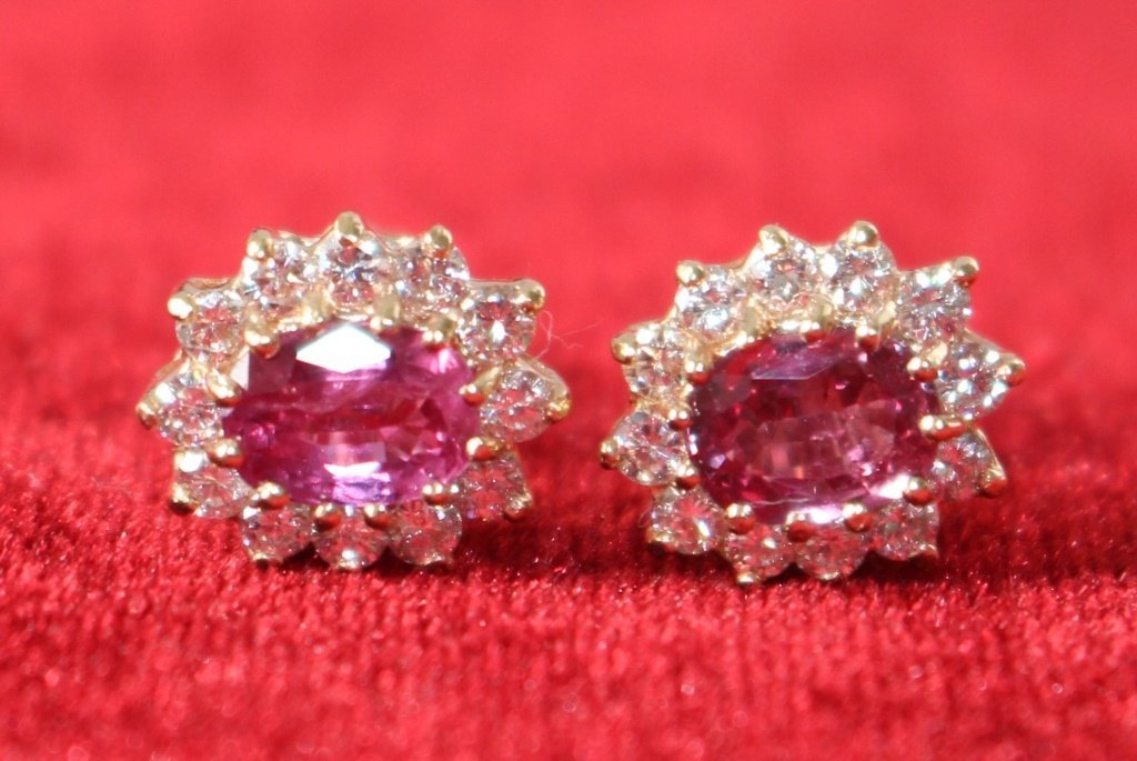 ESTATE 14KT GOLD, RUBY & DIAMOND STUD EARRINGS