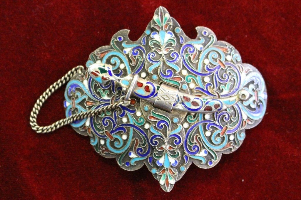 MAGNIFICENT RUSSIAN ENAMELED & SILVER BELT BUCKLE