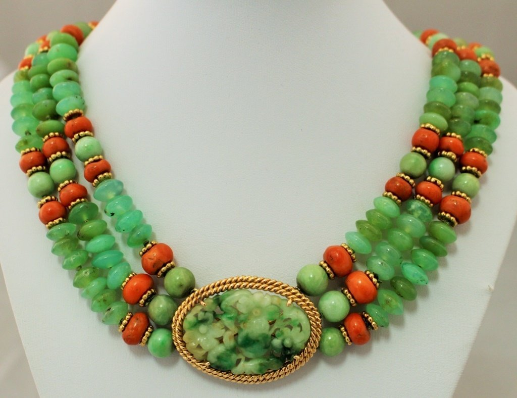 CHINESE JADEITE AND 14KT YG NECKLACE/PENDANT