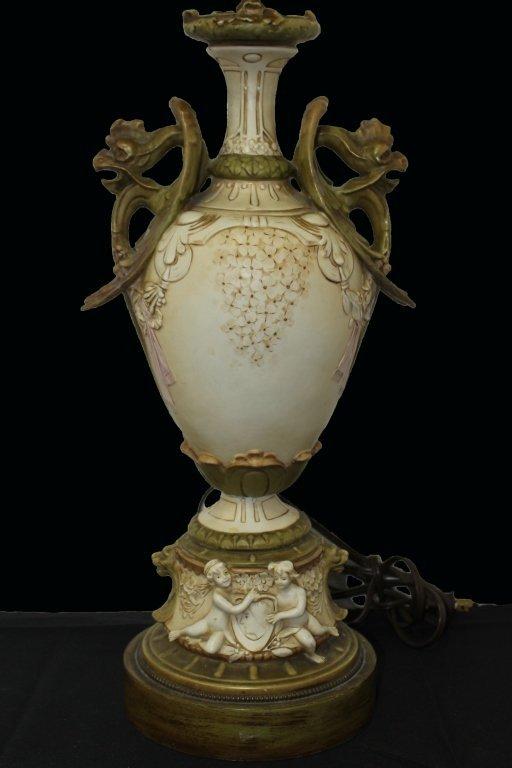ANTIQUE AMPHORA DRAGON PORCELAIN LAMP