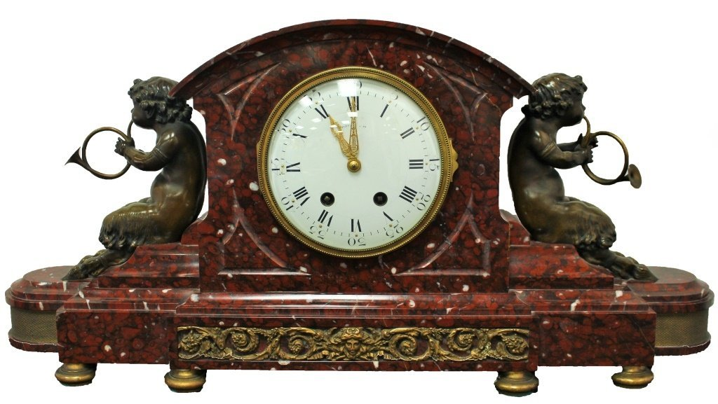 TIFFANY&CO LARGE BRONZE ANTIQUE ROUGE MARBLE CLOCK