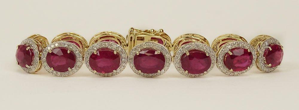 AIG CERT MAGNIFICENT RUBY & DIAMOND GOLD BRACLET