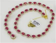 AIG SIGNED 41CT RUBY & DIAMOND GOLD NECKLACE