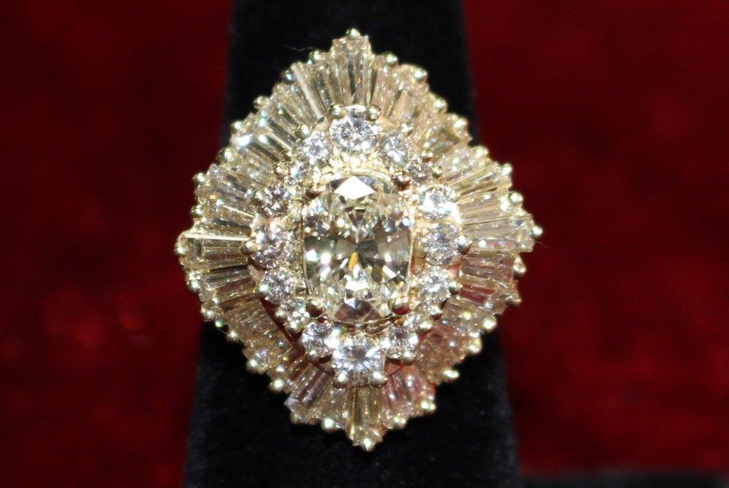 ESTATE 14KT YG 4CT DIAMOND COCKTAIL RING