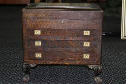 FABULOUS WOODEN CARVED SILVER STANDING CHEST