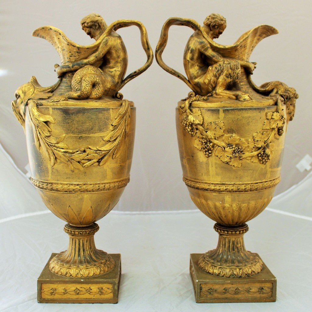 A Pair of 19th c. Wedgwood Etruria1 Urns,15 1/2 in