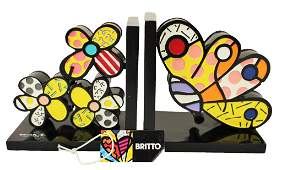 """ROMERO BRITTO """"BUTTERFLY FLOWER BOOKENDS"""""""