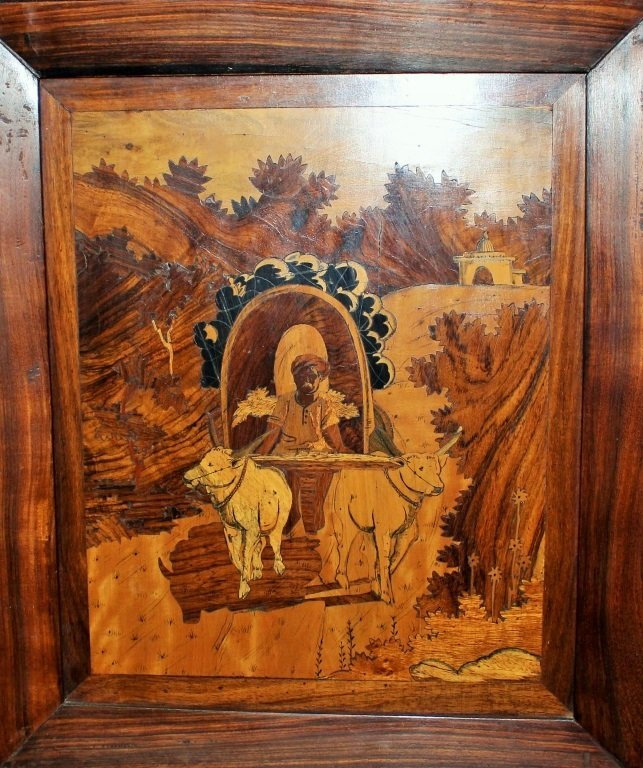 FRENCH ARTWORK MARQUETRY POSSIBLY GALLE