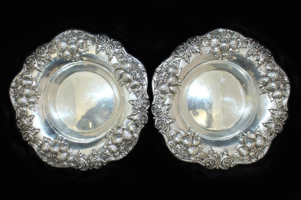 PAIR OF STERLING SILVER REPOUSE STRAWBERRY BOWLS