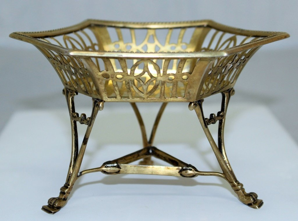 ANTIQUE ENGLISH GOLD WASH STERLING FOOTED BASKET