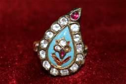 ANTIQUE ENAMEL DIAMOND AND JEWELED INDIAN RING