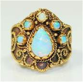 ESTATE 14KT YELLOW GOLD & FIRE OPAL LADIES RING