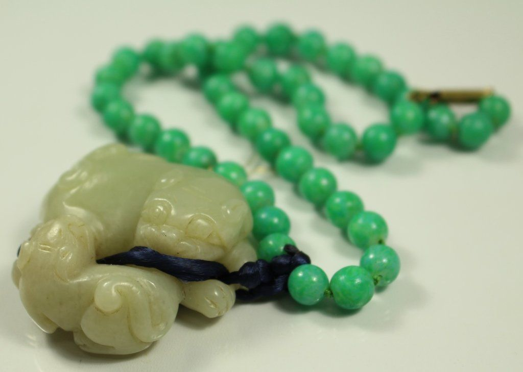 JADE PENDENT FOO DOG & CUB TURQUOISE NECKLACE
