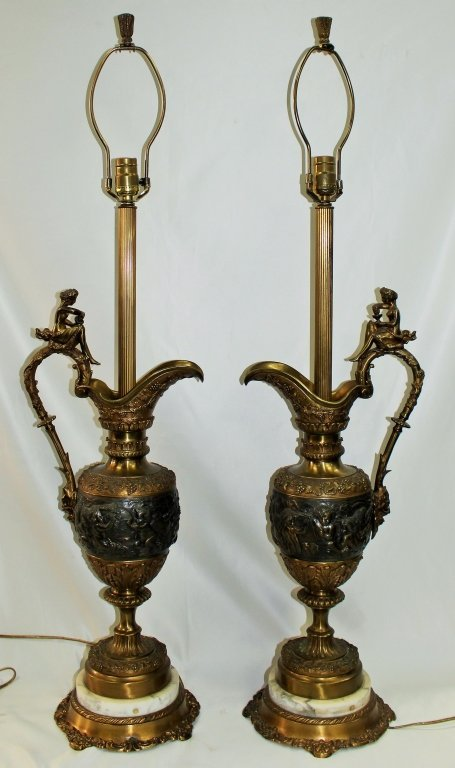 PAIR OF ANTIQUE CONTINENTAL HEAVEY EWER 19TH C.