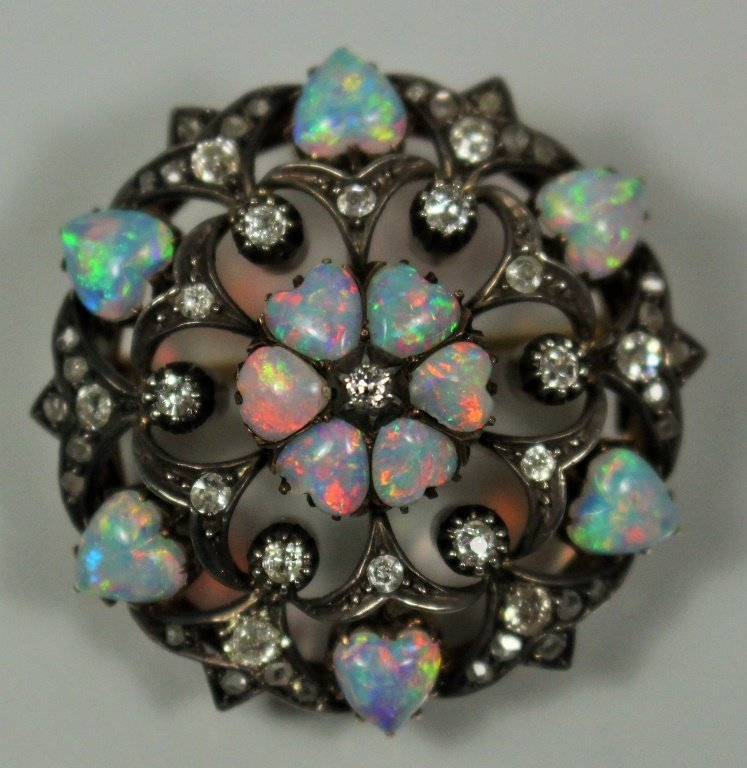 VICTORIAN 14KT YELLOW GOLD OPAL & DIAMOND BROOCH
