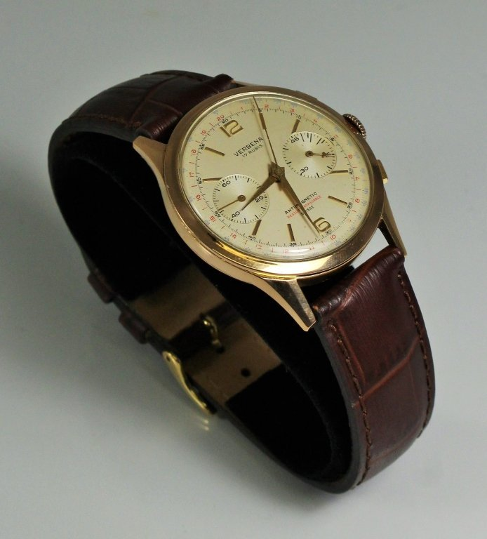 RARE VINTAGE 18KT ROSE GOLD VERBENA MENS WATCH