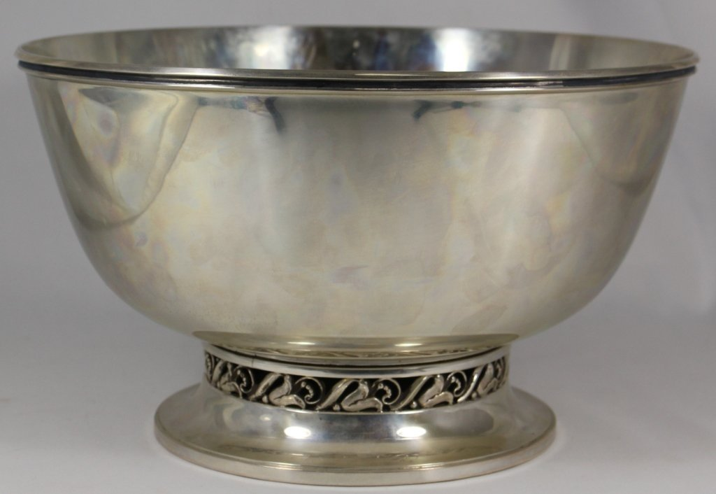 ALPHONSE LA PAGLIA LARGE RETICULATED STERLING BOWL