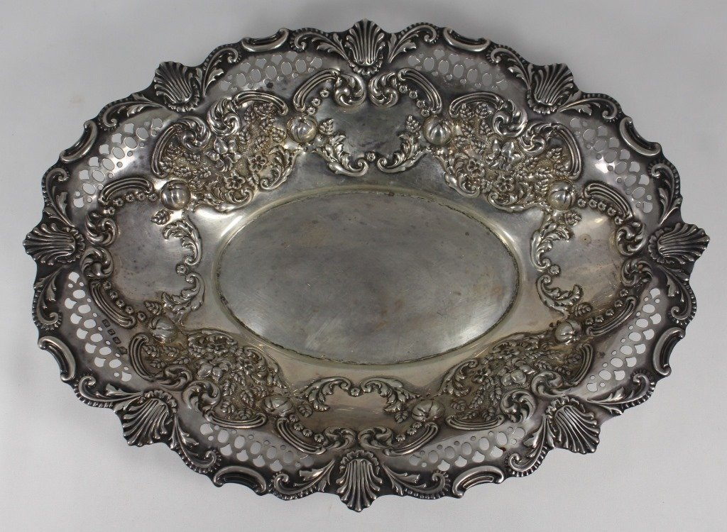 LARGE VINTAGE ENGLISH STERLING PIERCED TRAY