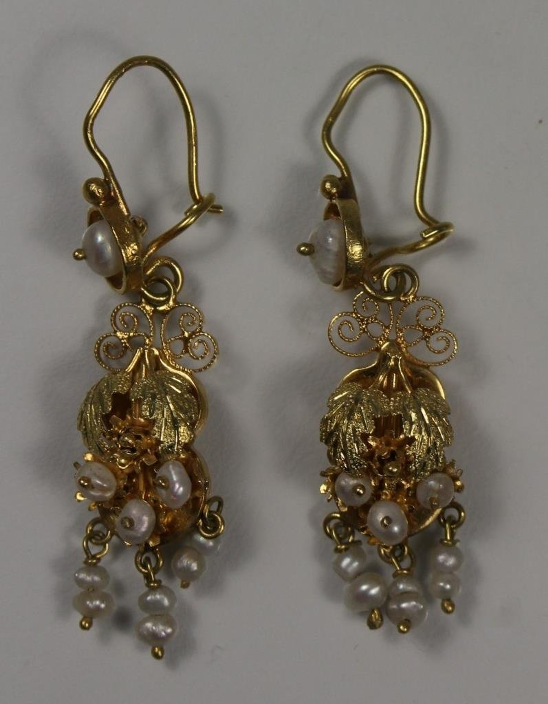 GEORGIAN ETRUSCEAN 14KT GOLD & SEED PEARL EARRINGS