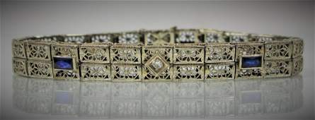 ART DECO 14KT WG DIAMOND SAPPHIRE LADIES BRACELET