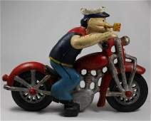 VINTAGE CAST IRON POPEYE MOTORCYCLE TOY