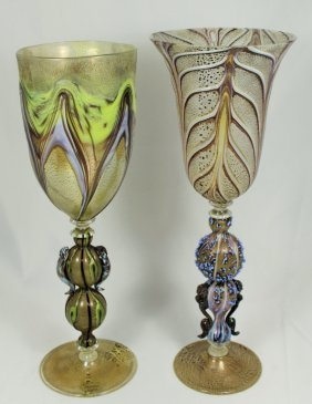 Two Vintage Hand Blown Venetian Chalices