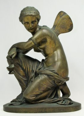 E. Laurent French Bronze Of A Fairy