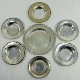 Seven Sterling Silver Assorted Round Trays