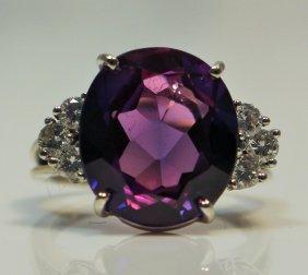 Estate 18kt Gold Diamond & Amethyst Ladies Ring