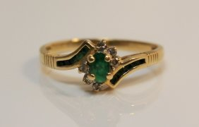 14kt Gold Emerald & Diamond Ladies Ring