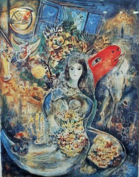 "Marc Chagall Titled ""bella"" Lithographic Print"