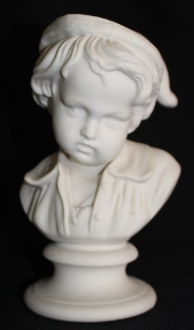 Antique White Parian Bust Of A Small Boy Figurine